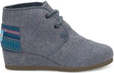 Toms Blue Multi Speckle Chambray Youth Desert Wedges
