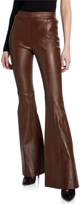 Rosetta Getty Pintucked Leather Pants
