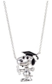 """Peanuts Fine Silver Plated Snoopy"""" Graduation Pendant Necklace, 16""""+2"""" for Unwritten"""