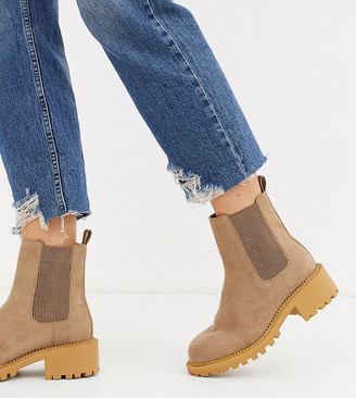 ASOS DESIGN Wide Fit Action chelsea boots in taupe