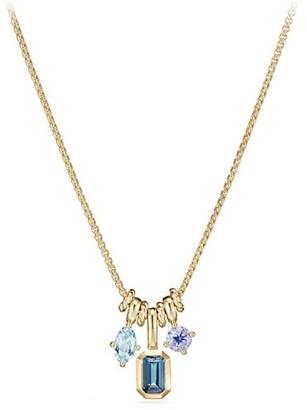 David Yurman Novella Pendant Necklace with Hampton Blue Topaz, Aquamarine, & Tanzanite