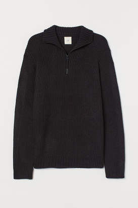 H&M Stand-up-collar Sweater - Blue