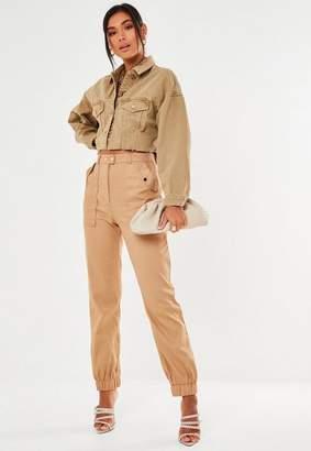 Missguided Camel Twill Oversized Pocket Cargo Pants