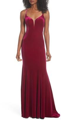 La Femme Crisscross Back Velvet Trumpet Gown