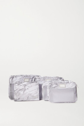 CalPak Set Of 5 Marbled Canvas And Mesh Packing Cubes - White