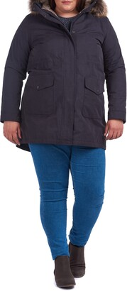 Barbour Swanage Waterproof Hooded Raincoat with Faux Fur Trim