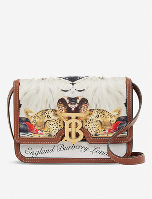 Burberry TB animalia-print silk and leather cross-body bag