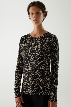 Cos Organic Cotton Printed Asymmetric Neckline Top