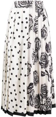 Ports 1961 Longette printed pleated midi skirt