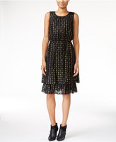 Maison Jules Tiered Metallic-Detail Dress, Only at Macy's