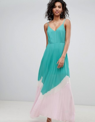 Asos DESIGN Color Block Pleated Maxi Dress