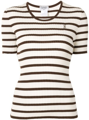 Chanel Pre Owned 1998 striped stretch T-shirt