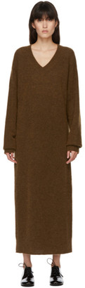 Arch The SSENSE Exclusive Brown Mohair V-Neck Dress