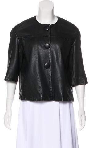 Vince Short Sleeve Leather Jacket
