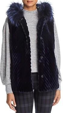 Maximilian Furs Reversible Sheared Beaver Fur & Leather Vest with Fox Fur Trim - 100% Exclusive