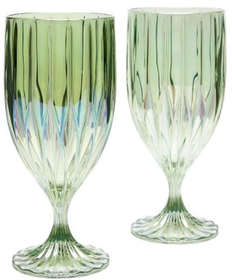 Luisa Beccaria Set Of Two Iridescent Fluted Water Glasses - Green
