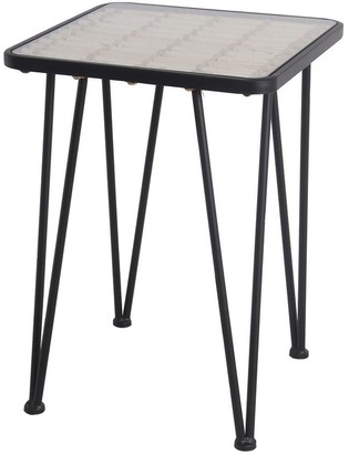 Overstock Metal and Glass Accent Table with Slatted Bamboo Top,Large, Black and Clear