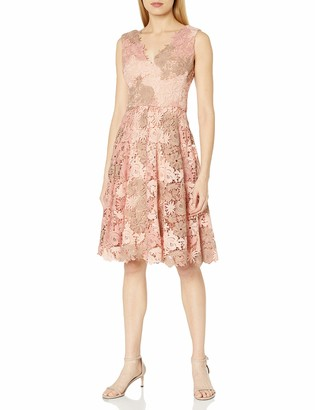 Vera Wang Women's Sleeveless 3D Lace Cocktail Dress with Double V Neck