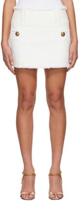 Balmain White Tweed Trapeze Miniskirt