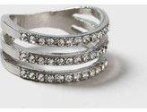 Dorothy Perkins Womens Silver Three Row Rhinestone Ring- Clear