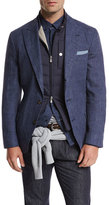 Brunello Cucinelli Deconstructed Peak-Lapel Three-Button Sport Jacket, Bright Blue