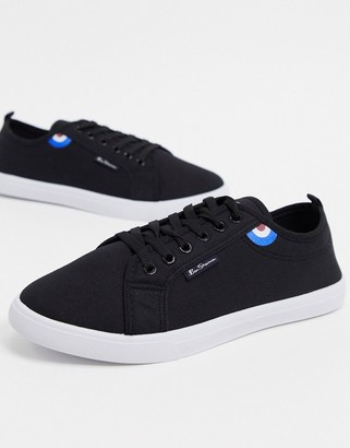 Ben Sherman lace up plimsolls in black contrast