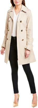 Tahari T Stella Ruffle Long Trench Coat