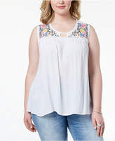 Planet Gold Trendy Plus Size Embroidered Keyhole Top
