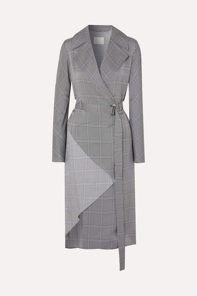 Dion Lee Belted Checked Crepe Trench Coat - Gray