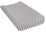 Trend Lab Chevron Deluxe Flannel Changing Pad Cover, Navy and Gray by