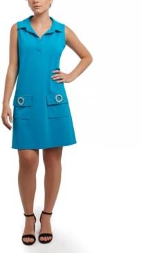 MSK Scuba Crepe Grommet Pocket Dress