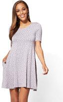 New York & Co. Short-Sleeve Swing Dress - Space Dye