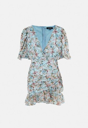 Missguided Blue Floral Print Ruched Ruffle Hem Mini Dress