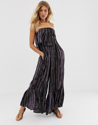 Free People Summer Vibes tie dye layered jumpsuit-Black