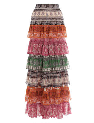 Zimmermann Amari Tiered Midi Skirt