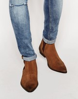 Asos Chelsea Boots In Brown Suede - Brown
