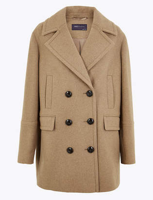 Marks and Spencer Double Breasted Peacoat with Wool
