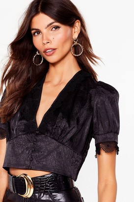 Nasty Gal Womens Satin Lace Trim Blouse - Black - 4