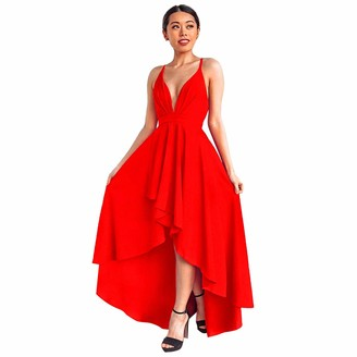 IMEKIS Women Elegant Summer Dress Sleeveless V Neck Backless Asymmetrical Party Dress High Low Hem Skirt Cocktail Wedding Evening Dress Formal Long Dance Ball Gown Red UK 8