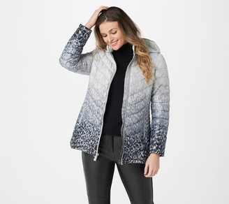 Dennis Basso Water Resistant Printed Quilted Jacket with Hood