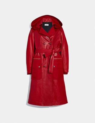 Coach Leather Trench With Ruching Detail