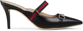Gucci Mid-heel slide with Web