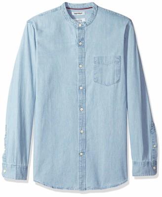 Goodthreads Men's Slim-fit Long-sleeve Band-collar Denim Casual Shirt Blue (Light Lig) Medium