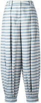 Jil Sander Navy striped tapered pants - women - Cotton/Polyester - 36