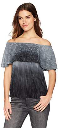 Three Dots Women's Pleated Ombre Short Loose Off Shoulder top