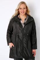 Yours Clothing Black Shower Resistant Pocket Parka Jacket With Hood