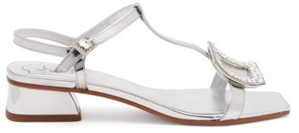 Roger Vivier Vicky Viv Crystal-buckle Metallic-leather Sandals - Silver