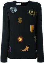 Stella McCartney cat patches blouse - women - Silk/Viscose/Acetate/Spandex/Elastane - 40