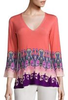 Etro Paisley Print Stretch-Silk Knit Top