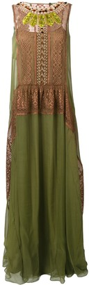 Alberta Ferretti Embellished Neck Dress